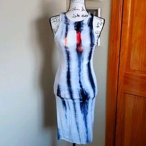 Fashion Nova Tie Dye Midi Dress Blue Size Small
